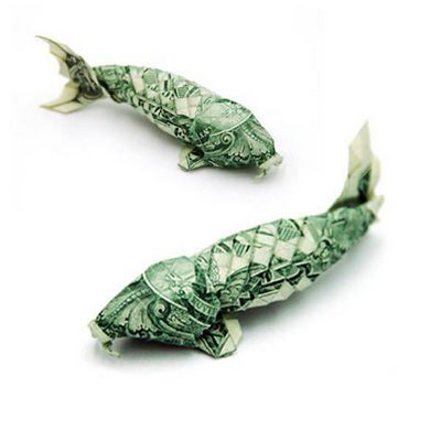 Money origami easely speaking for Origami koi fish
